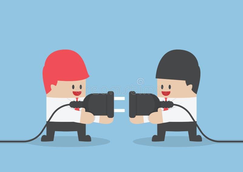 Homem de negócios dois que tenta conectar junto a tomada elétrica ilustração do vetor