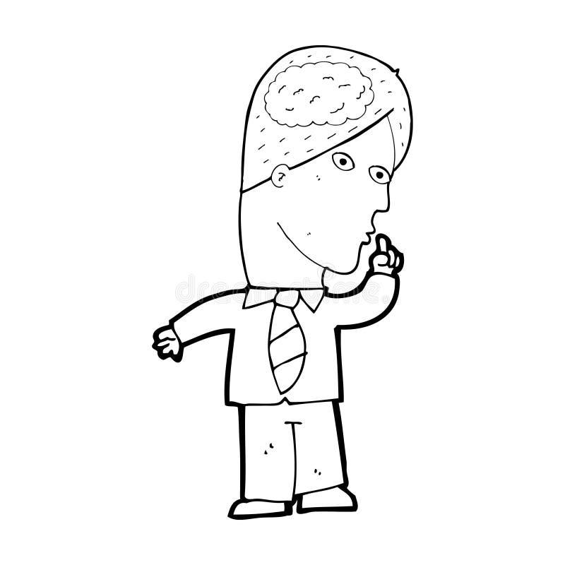 homem de negócios dos desenhos animados com cérebro enorme ilustração do vetor