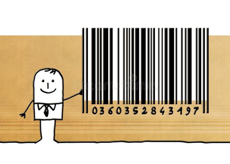 Homem de negócios dos desenhos animados com código de barras ilustração royalty free