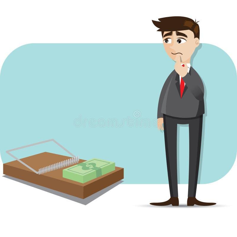 Homem de negócios dos desenhos animados com dinheiro na armadilha ilustração do vetor