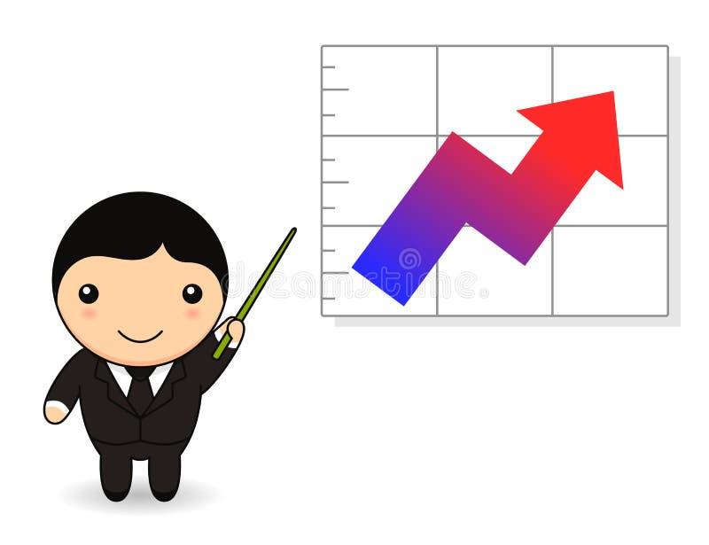 Homem de negócios dos desenhos animados com gráfico ilustração do vetor