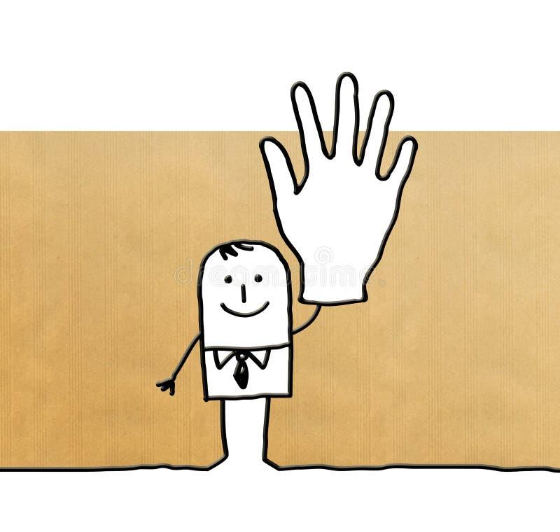Homem de negócios dos desenhos animados com mão grande acima ilustração do vetor