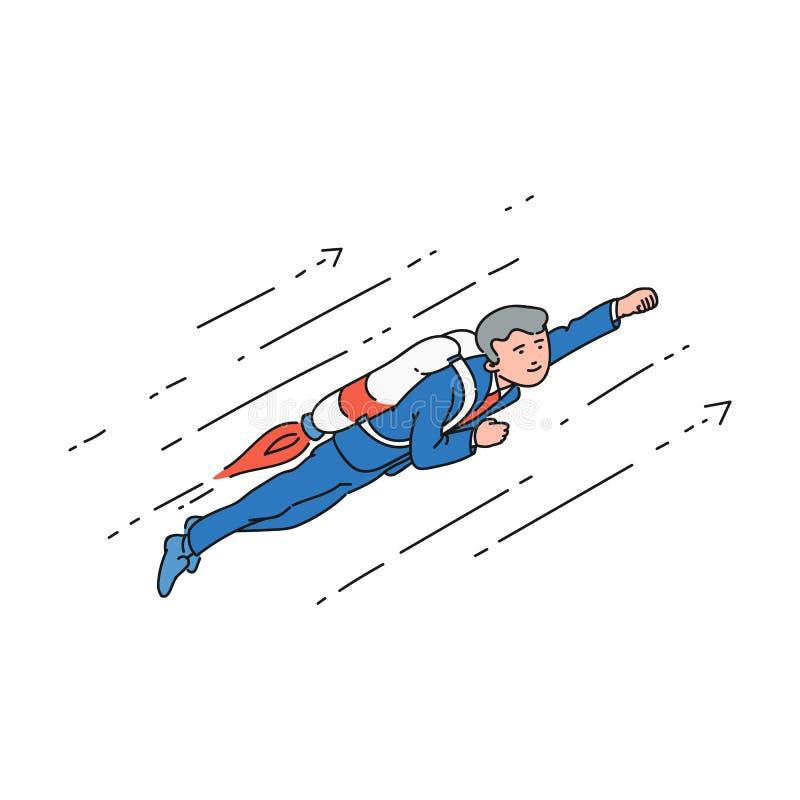 Homem de negócios dos desenhos animados com o jetpack que voa acima na pose do super-herói ilustração stock