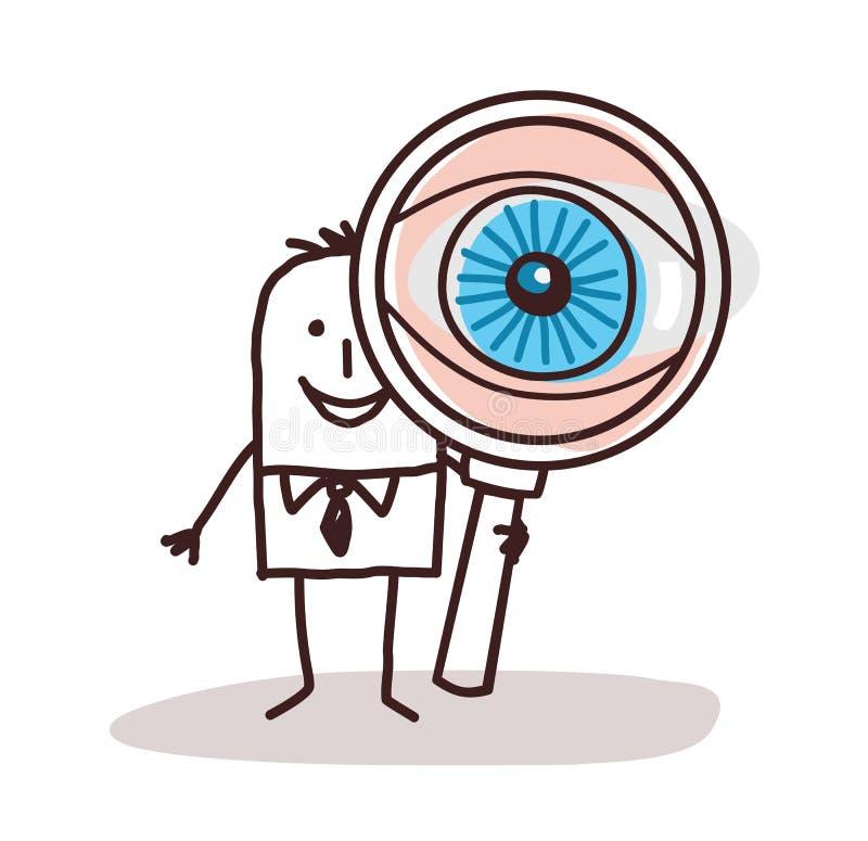 Homem de negócios dos desenhos animados com o olho de ampliação grande ilustração royalty free