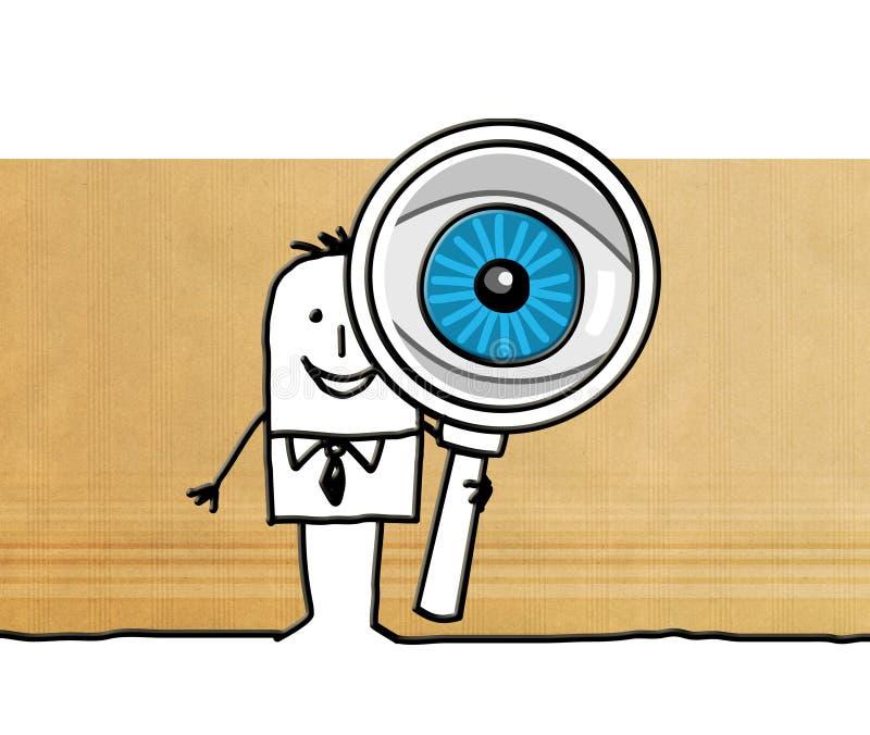 Homem de negócios dos desenhos animados com o olho de ampliação grande ilustração stock