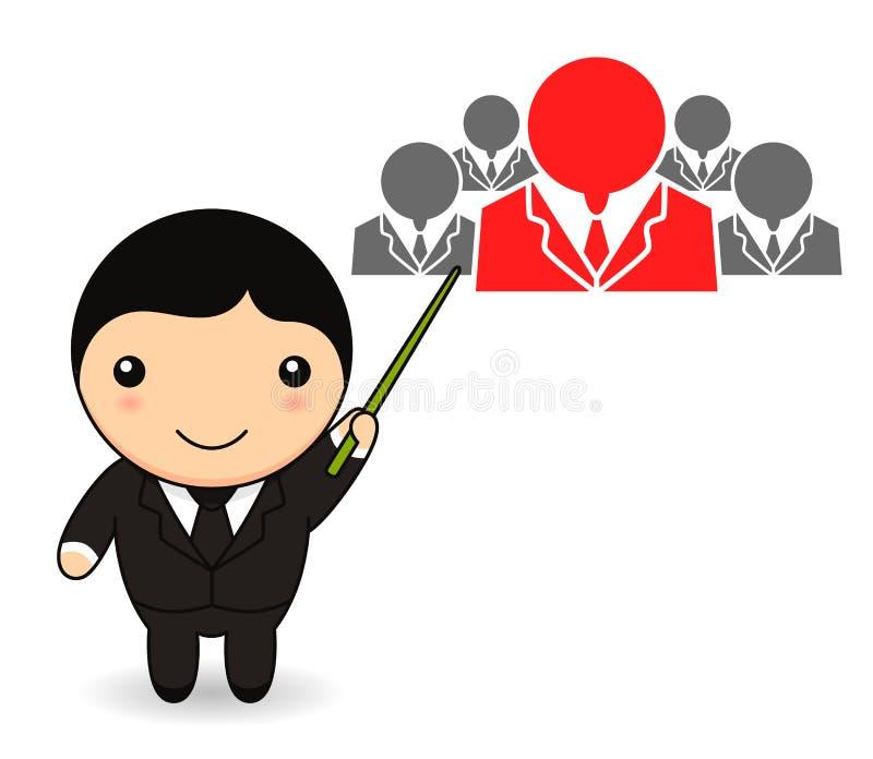Homem de negócios dos desenhos animados com recursos humanos ilustração royalty free