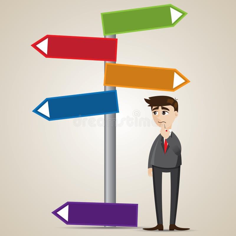 Homem de negócios dos desenhos animados com signage vazio ilustração stock