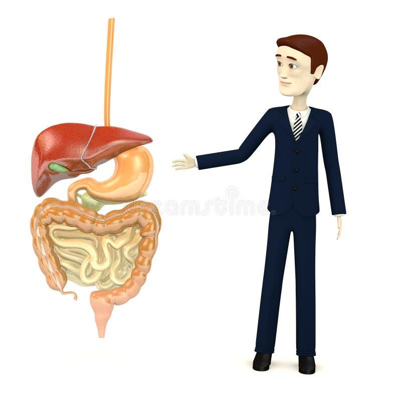 Homem de negócios dos desenhos animados com sistema digestivo ilustração royalty free