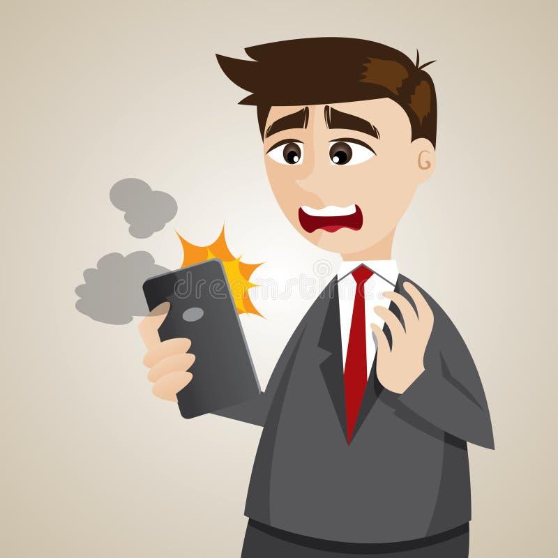 Homem de negócios dos desenhos animados com smartphone do erro ilustração royalty free