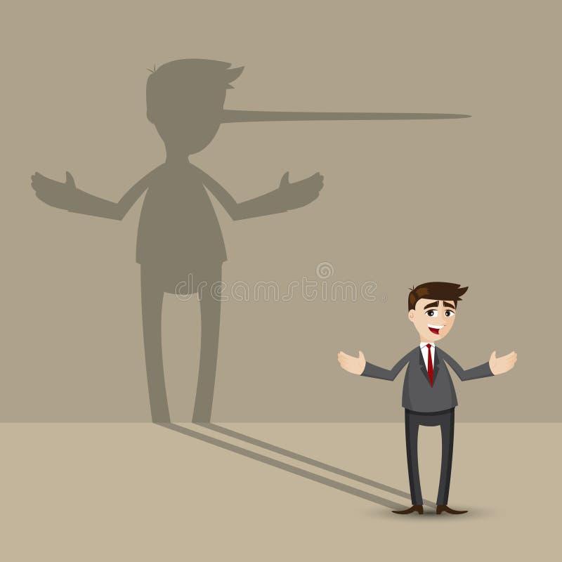 Homem de negócios dos desenhos animados com sombra longa do nariz na parede ilustração royalty free