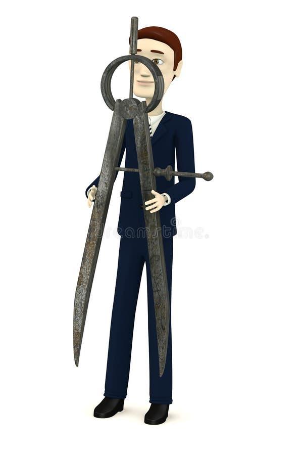 Homem de negócios dos desenhos animados com trammel ilustração royalty free