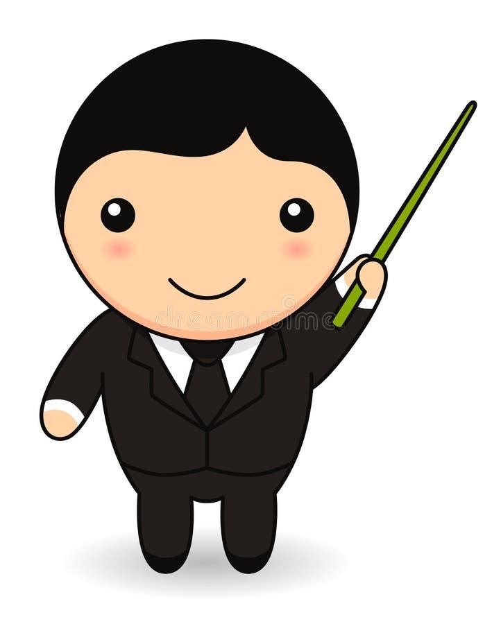 Homem de negócios dos desenhos animados com vara do ponteiro ilustração stock