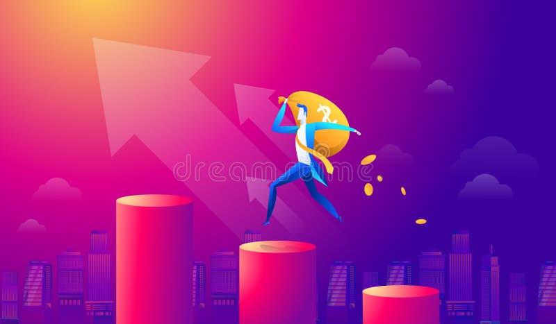 Homem de negócios dos desenhos animados do vetor que guarda o saco do dinheiro e que anda no gráfico vermelho e na seta ascendent ilustração royalty free