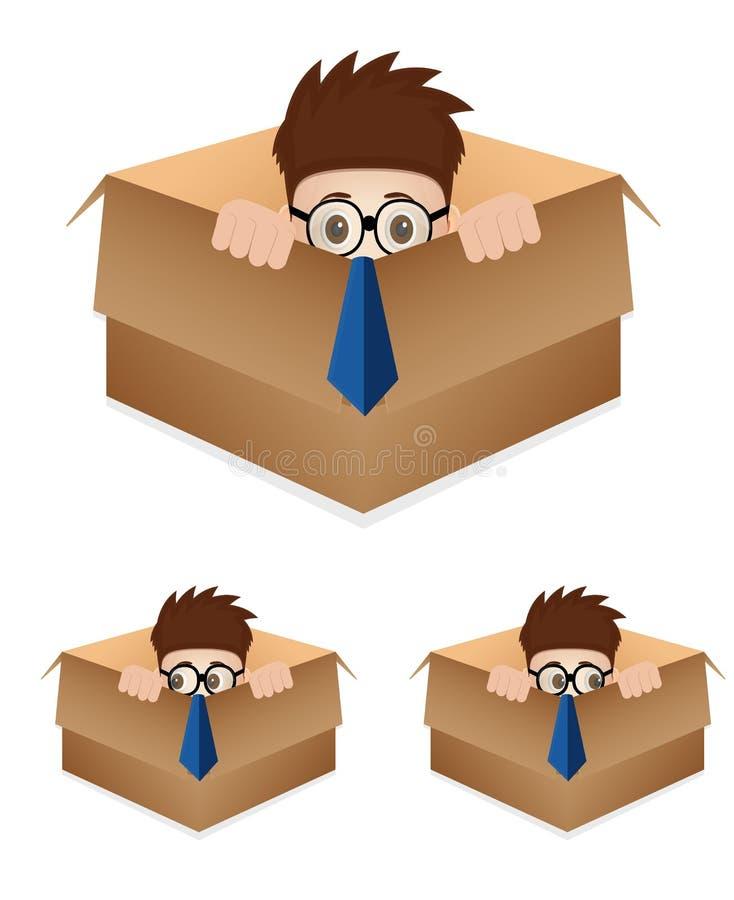 Homem de negócios dos desenhos animados na caixa ilustração do vetor