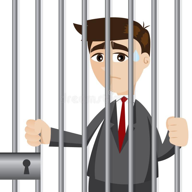 Homem de negócios dos desenhos animados na prisão ilustração do vetor