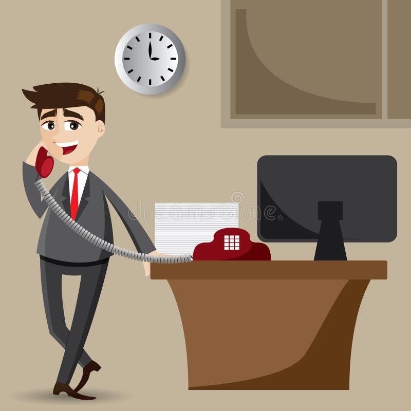 Homem de negócios dos desenhos animados no telefone ilustração do vetor