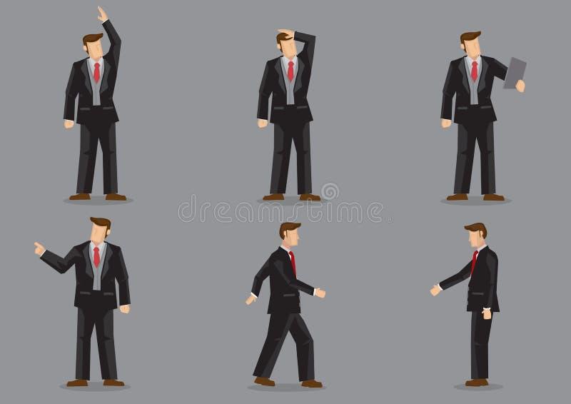 Homem de negócios dos desenhos animados no terno preto no vetor diferente C dos gestos ilustração do vetor