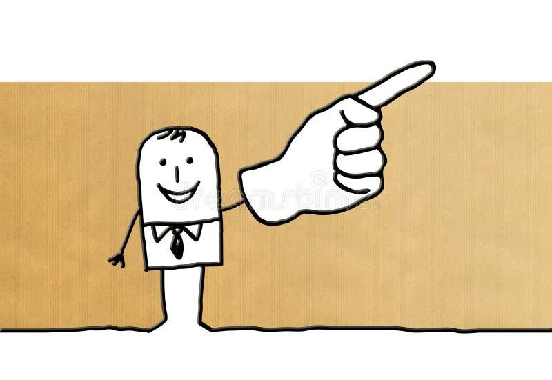 Homem de negócios dos desenhos animados que aponta o dedo acima ilustração stock