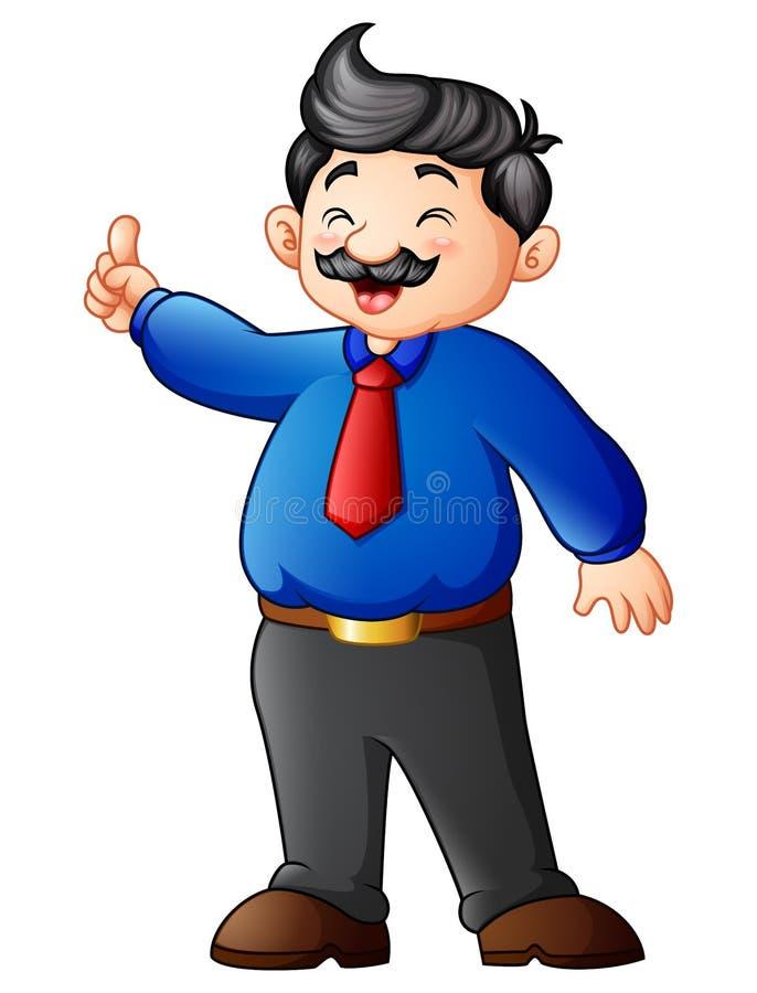 Homem de negócios dos desenhos animados que aponta o dedo acima ilustração do vetor