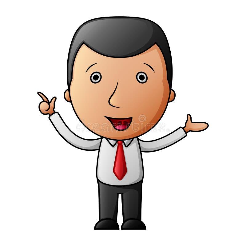 Homem de negócios dos desenhos animados que aponta seu dedo acima ilustração stock