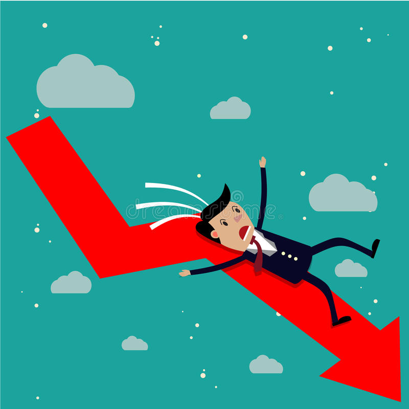 Homem de negócios dos desenhos animados que cai da seta vermelha da carta ilustração stock