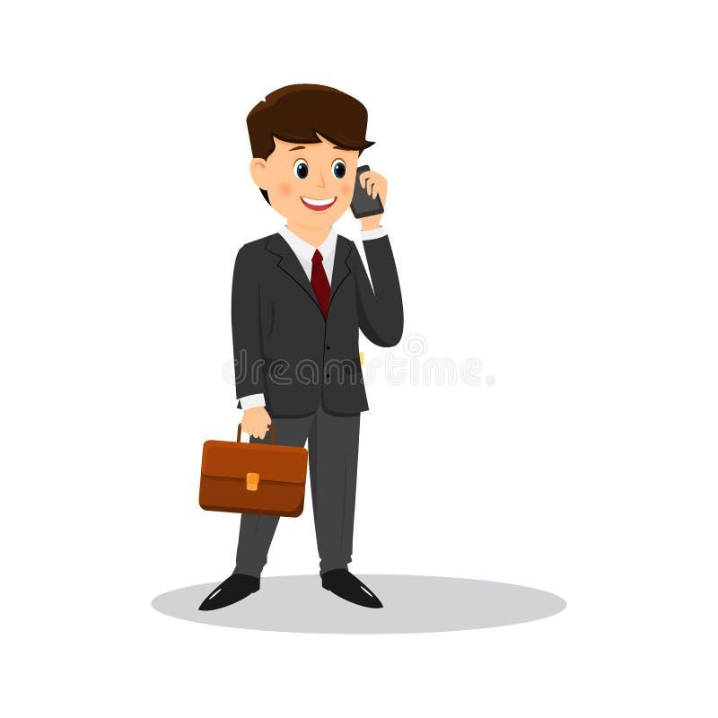 Homem de negócios dos desenhos animados que fala no telefone