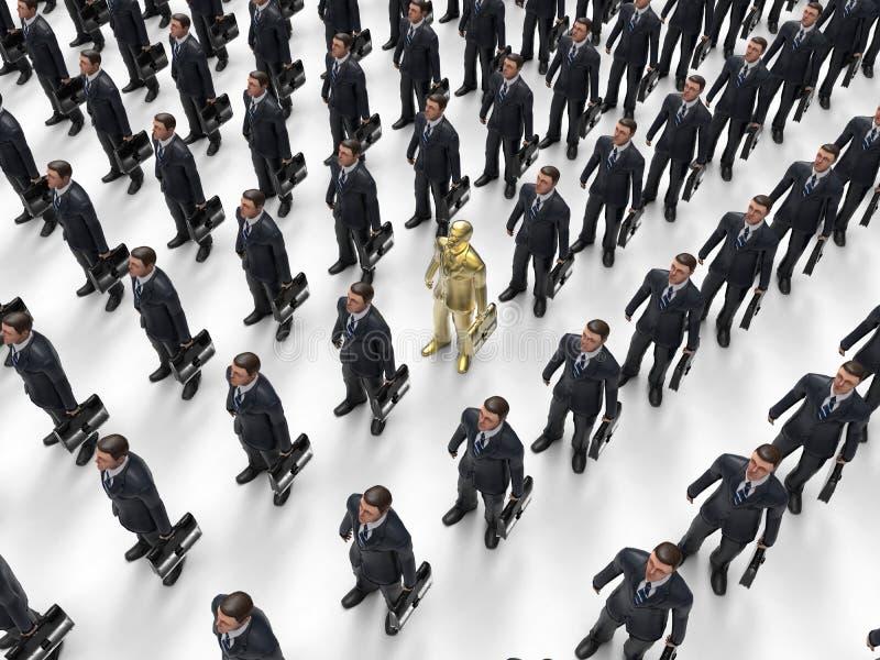 Homem de negócios dourado dentro do grupo ilustração stock