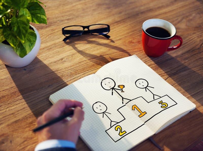 Homem de negócios Drawing Podium com conceito florescente fotografia de stock royalty free