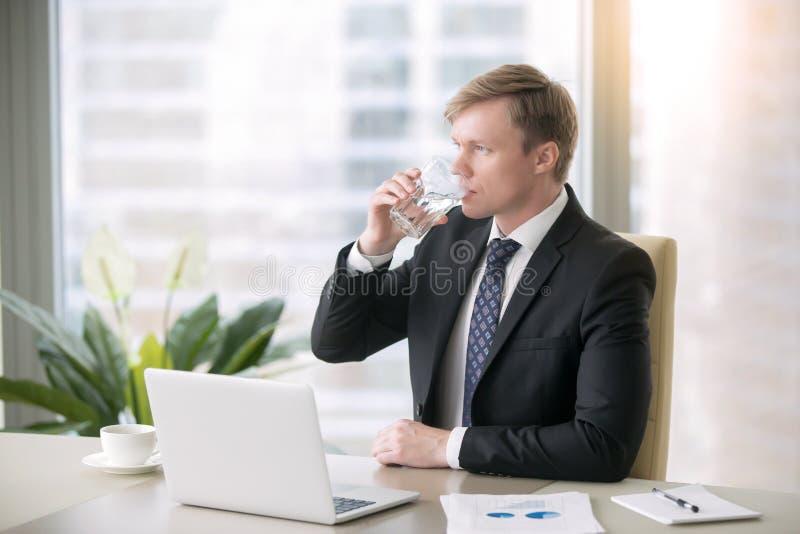 Homem de negócios Drinking Water fotografia de stock royalty free