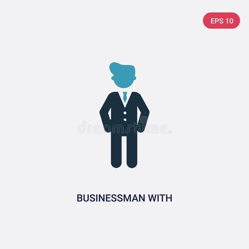 Homem de negócios de duas cores com ícone do vetor do dinheiro do dólar do conceito dos povos homem de negócios azul isolado com  ilustração stock