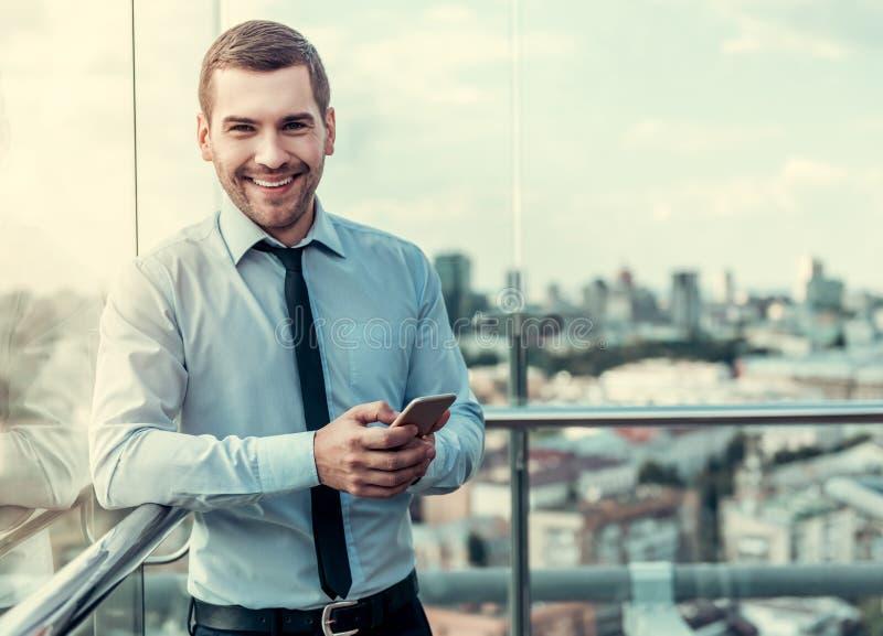 Homem de negócios durante a ruptura fotos de stock