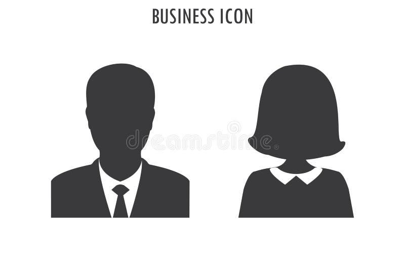 Homem de negócios e ícone da mulher de negócio, ilustração royalty free