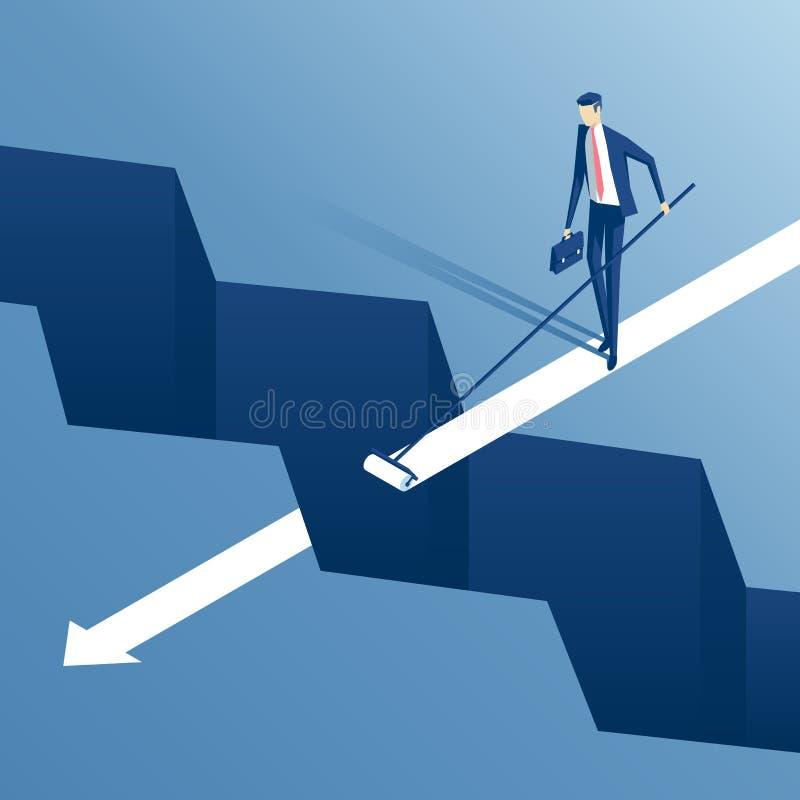 Homem de negócios e abismo isométricos ilustração stock
