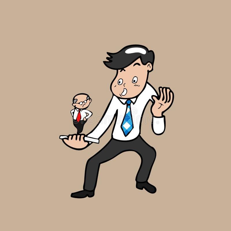 Homem de negócios e chefe no telefone celular ilustração do vetor