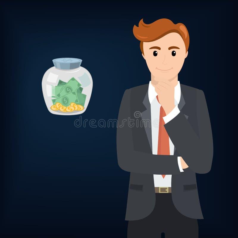 Homem de negócios e dinheiro em um frasco de vidro ilustração do vetor