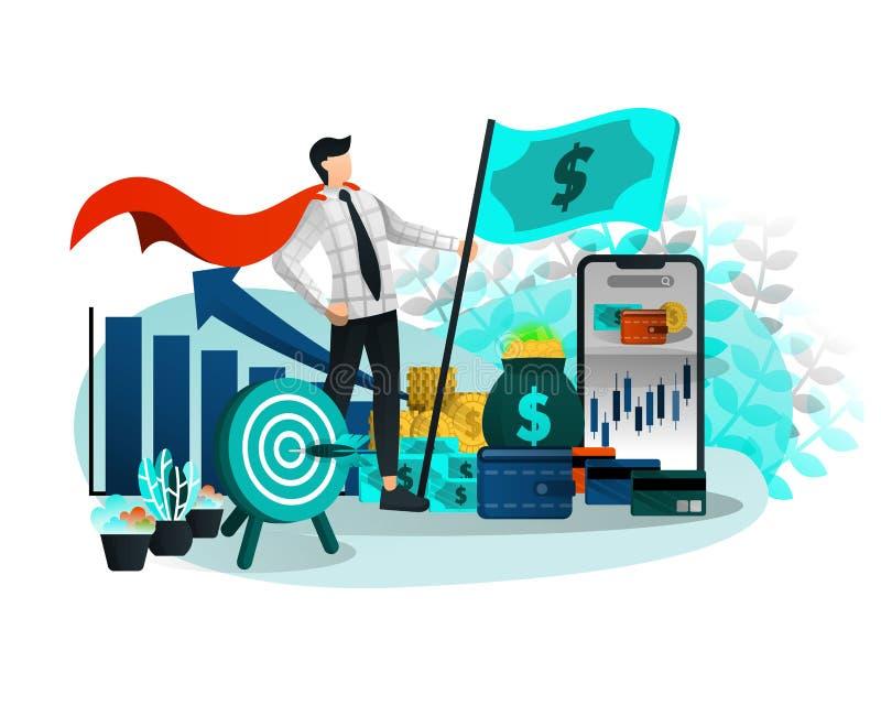 Homem de negócios e empresário Superhero com carreira e finança brilhantes Bandeira do dinheiro e todo o alvo conseguiram Ilustra ilustração stock