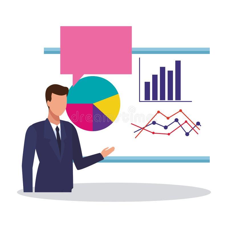 Homem de negócios e estatísticas ilustração do vetor