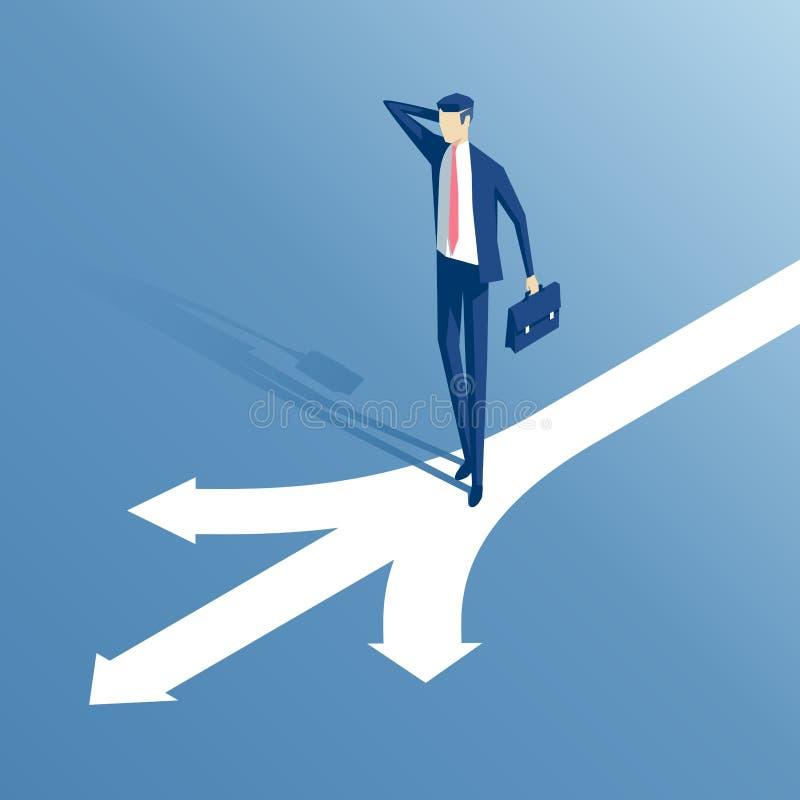 Homem de negócios e estradas transversaas isométricos ilustração do vetor