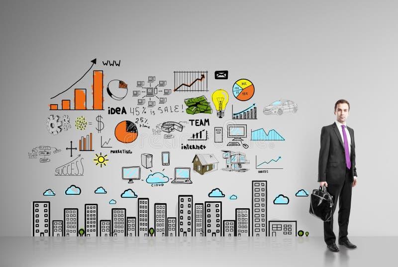 Homem de negócios e estratégia empresarial imagem de stock