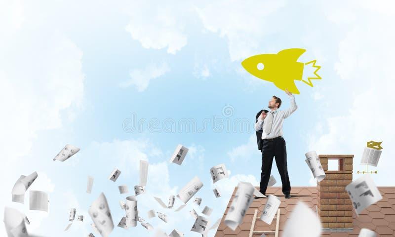 Homem de negócios e fundação de projetos startup ilustração do vetor