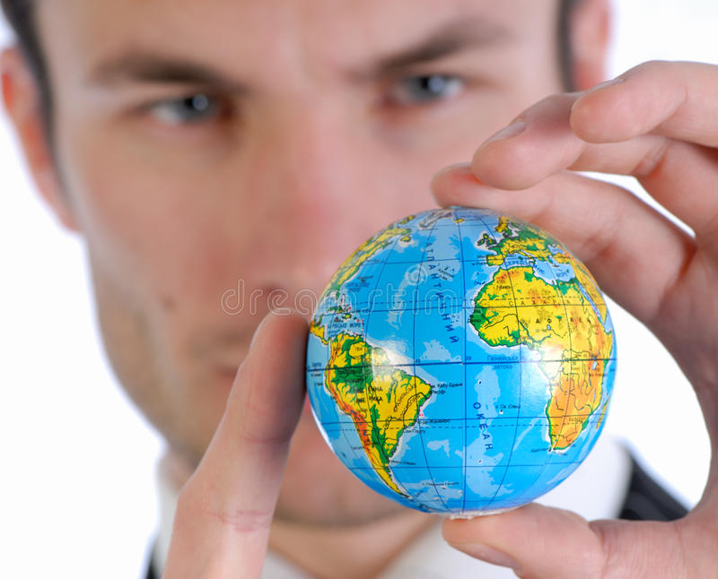 Homem de negócios e globo fotos de stock