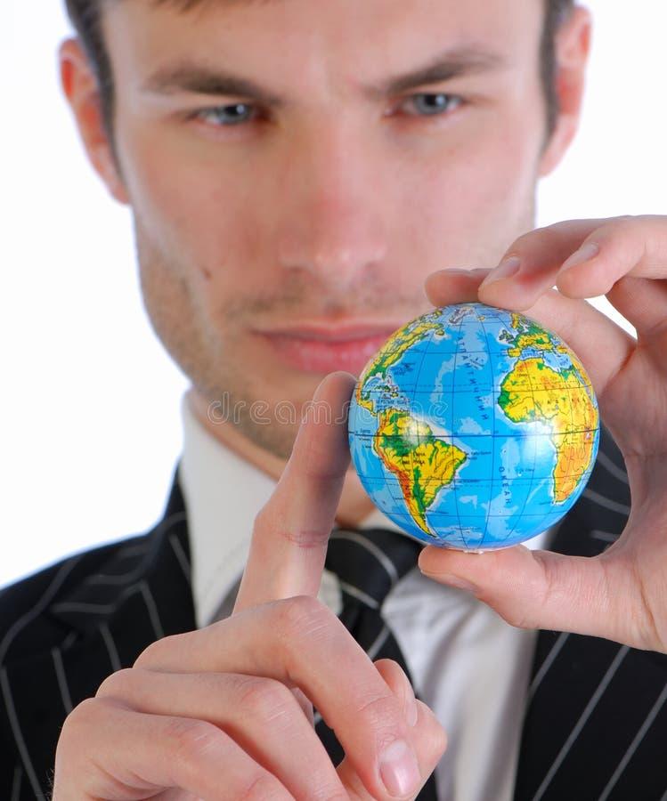 Homem de negócios e globo foto de stock royalty free