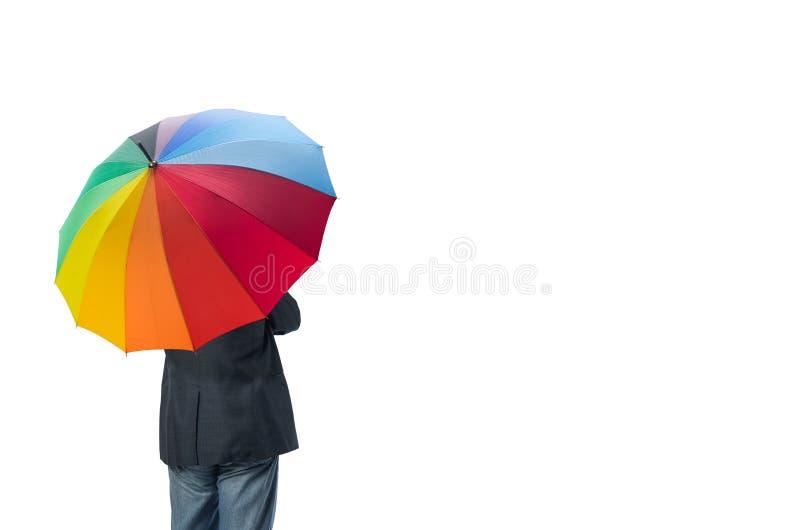 homem de negócios e guarda-chuva isolados foto de stock royalty free