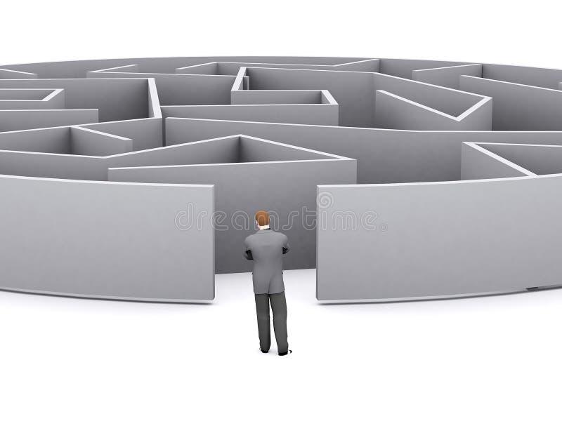 Homem de negócios e labirinto ilustração royalty free