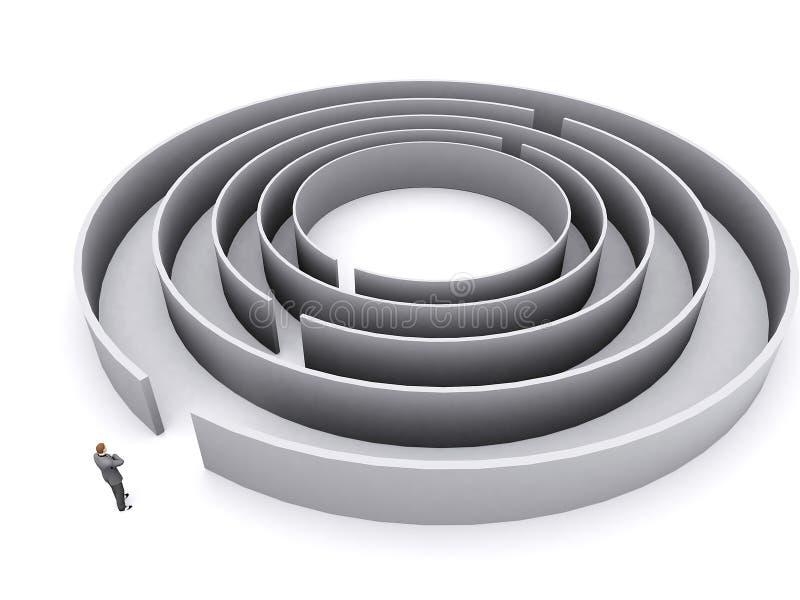 Homem de negócios e labirinto ilustração do vetor