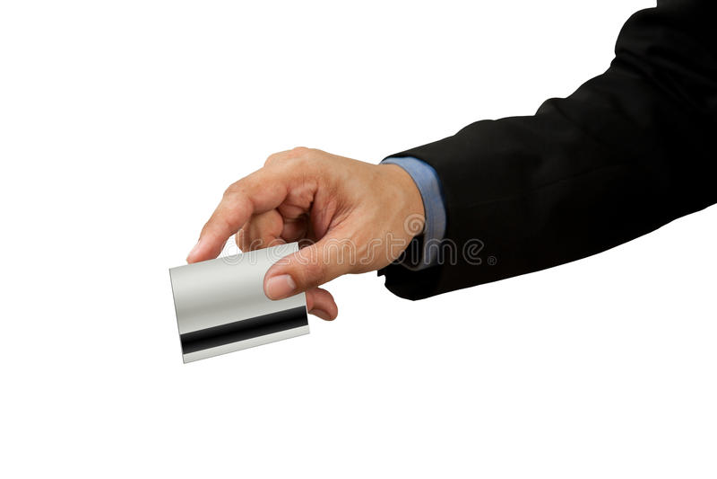 Homem de negócios e mão com furto do cartão de crédito foto de stock