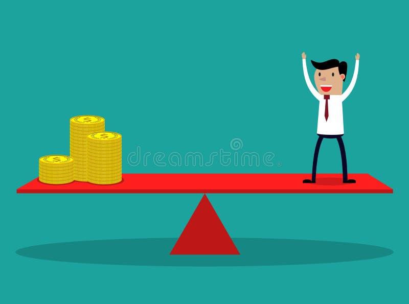 Homem de negócios e moedas douradas ilustração do vetor
