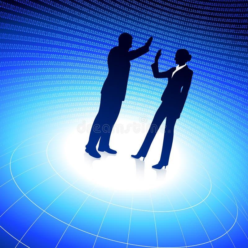 Homem de negócios e mulher de negócios no fundo azul ilustração royalty free