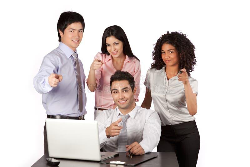Homem de negócios e mulher de negócios Pointing Finger imagens de stock royalty free