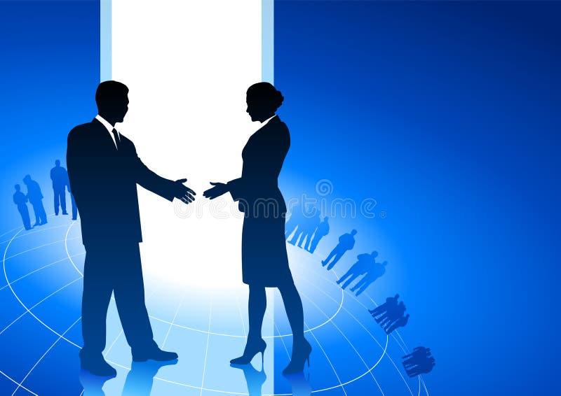 Homem de negócios e mulher de negócios que agitam as mãos ilustração do vetor